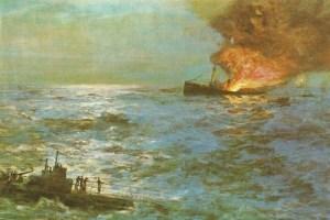 aufgetauchtes U-Boot versenkt Frachter