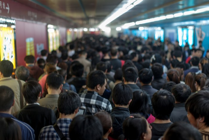 Crowd on the Beijing Subway