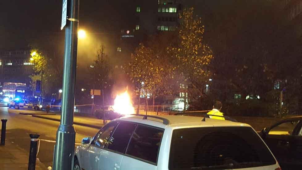 Car explodes outside Wembley Park tube