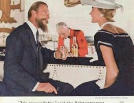 AD - CHICAGO - SCHWEPPES TONIC WATER - COMMANDER WHITEHEAD TALKING TO A SMARTLY DRESSED WOMAN IN THE PUMP ROOM - 1954