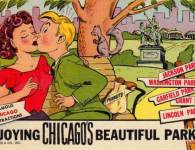 postcard-chicago-curt-teich-cartoon-enjoying-chicagos-beautiful-parks-man-and-woman-on-bench-kissing-1950s