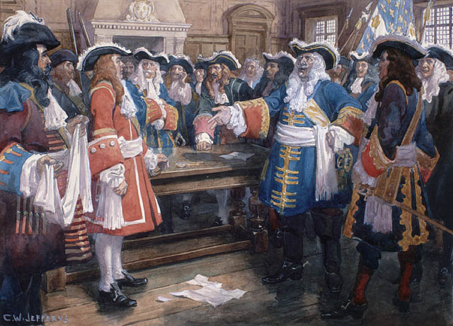 Frontenac receiving the envoy of Sir William Phips