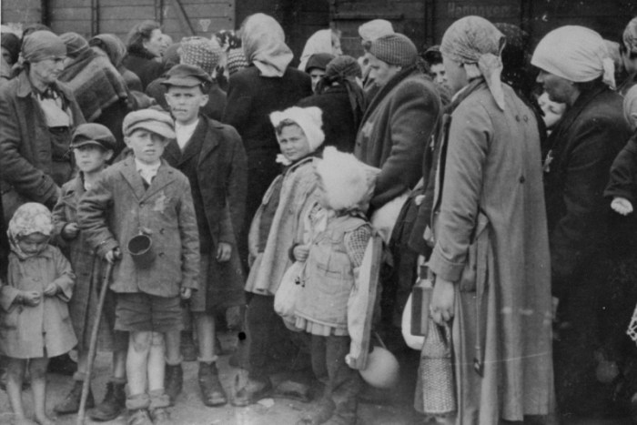 Jewish women and children from Subcarpathian Rus await selection on the ramp at Auschwitz-Birkenau