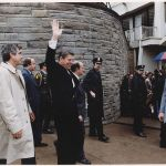 President Reagan waving to crowds immediately before being shot