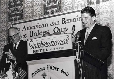 Ronald Reagan speaks for presidential candidate Barry Goldwater in Los Angeles in 1964