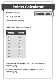 Check your meal plan progress with the Points Calculator!