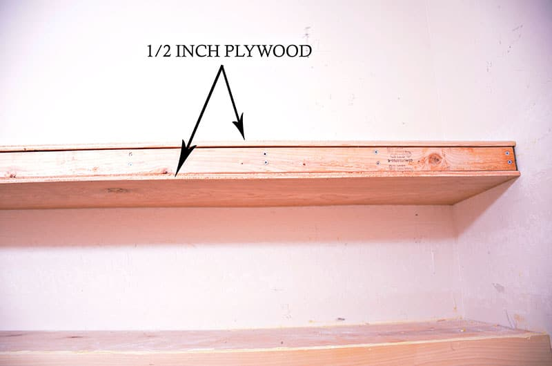 add plywood to top and bottom of shelves