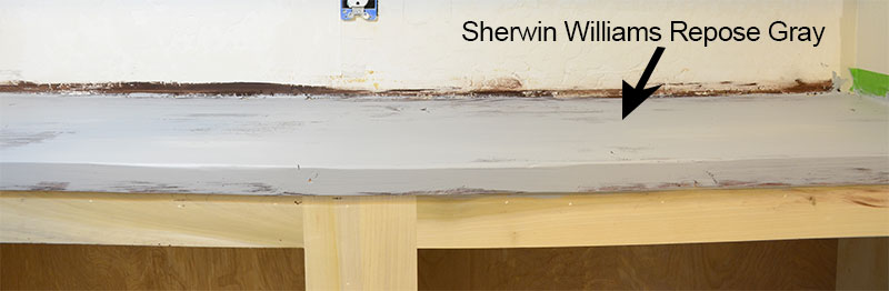 wood countertop painted in preparation for distressing