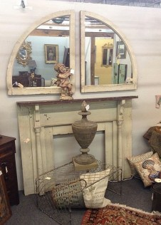 Chippy Mantle and Arched Mirrors