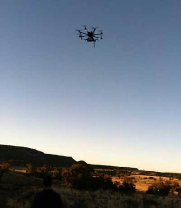 Aerial drone over Blue J Puebloan ruins New Mexico