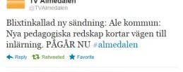 Skärmdump på tweet från TValmedalen klockan 09:47 den 6 uli 2012