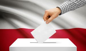 Voting Concept - Ballot Box With National Flag On Background - P