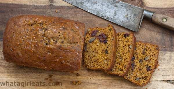 Pumpkin cranberry walnut bread.