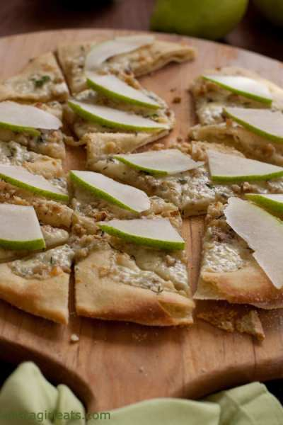 Gorgonzola and Walnut Pizza with Pears and fresh thyme.