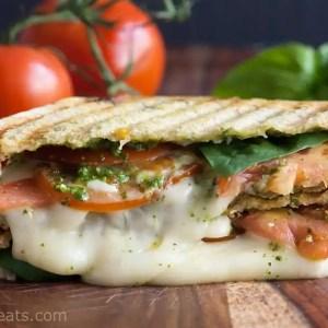 Grilled Mozzarella, Pesto and Tomato Sandwich
