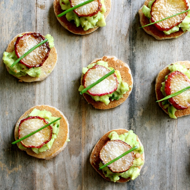 avocado, radish, apple, blini