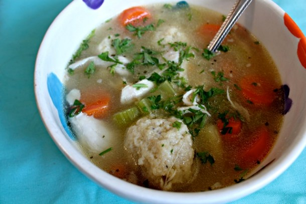 matzah ball, chicken, soup