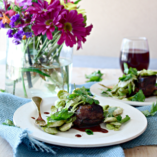 Sous Vide Short Ribs for 48 Hours with Pomegranate Sauce and Pickled Brussels Sprout Slaw