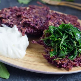 Purple Sweet Potato Latkes with Truffle Yogurt and Arugula