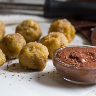 Cinnamon Sugar Matzo Balls with Chocolate Yogurt Dipping Sauce