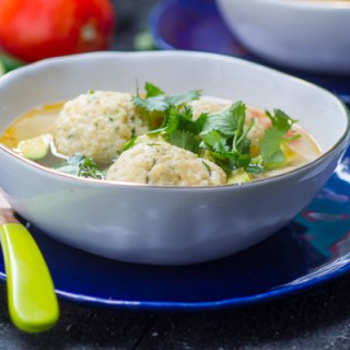 Chicken, Lime and Avocado Matzah Ball Soup
