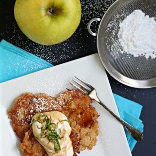 Apple Spice Latkes with Cinnamon Yogurt and Caramel Sauces