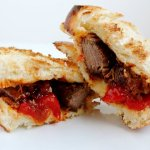 Brisket Sandwich with Horseradish, Onion &amp; Pepper on Challah