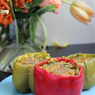 Cheesy Pumpkin Quinoa Stuffed Peppers (Vegan and Gluten Free!)