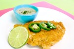 Chicken Schnitzel with Jalapeno Cilantro Cream Sauce