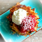 Coconut Latkes with Cranberry Applesauce & Cardamom Mascarpone