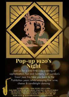 Pop-up 1920's Night. Jazz, Wine, Cheese & Dancing in Bromley – April 2018