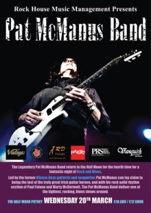 Pat McManus Band: Live Rock and Blues at Half Moon Putney London Weds 20 Mar