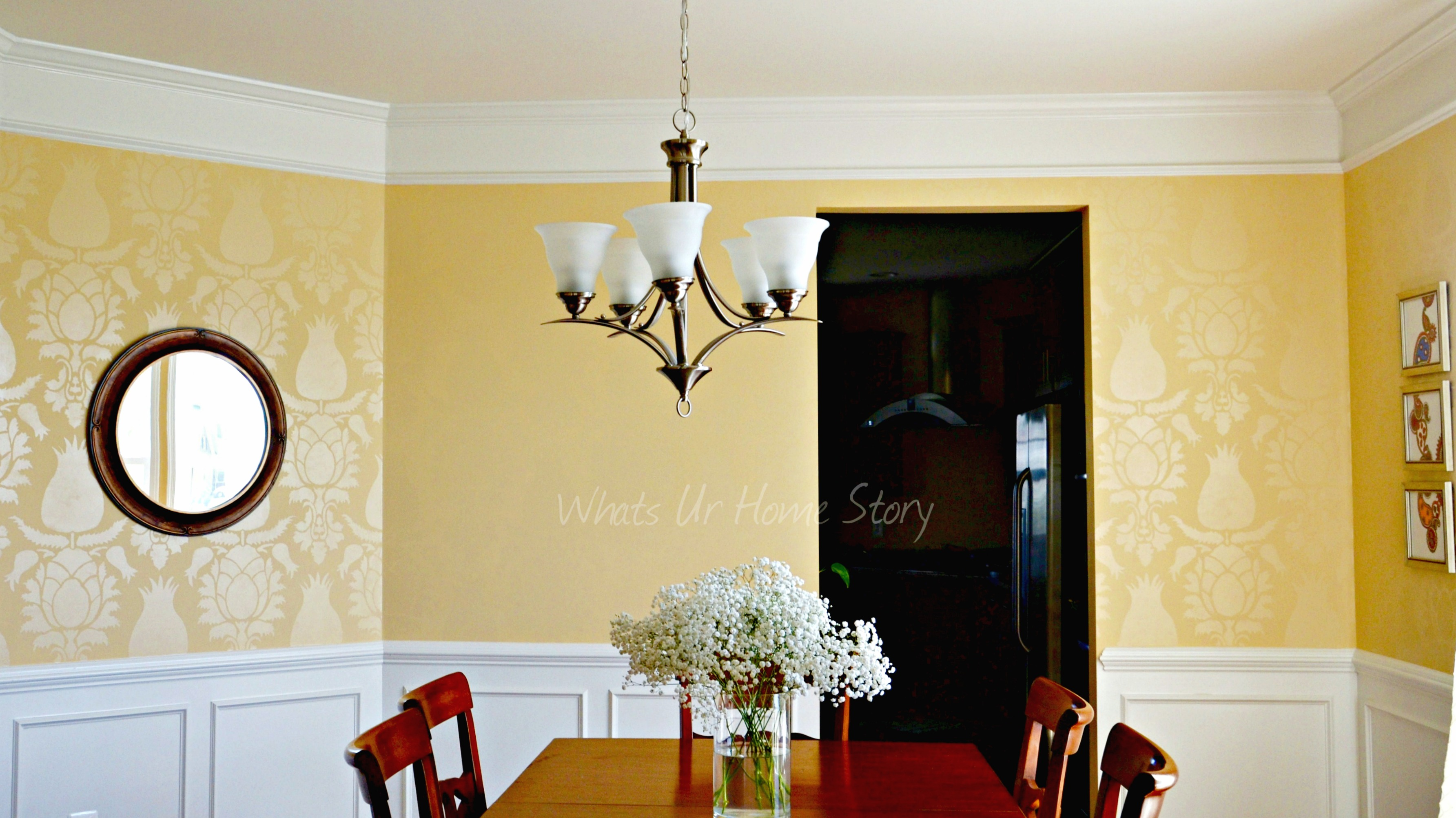Dining room with stenciled walls - Wall painting stencils for living room ...