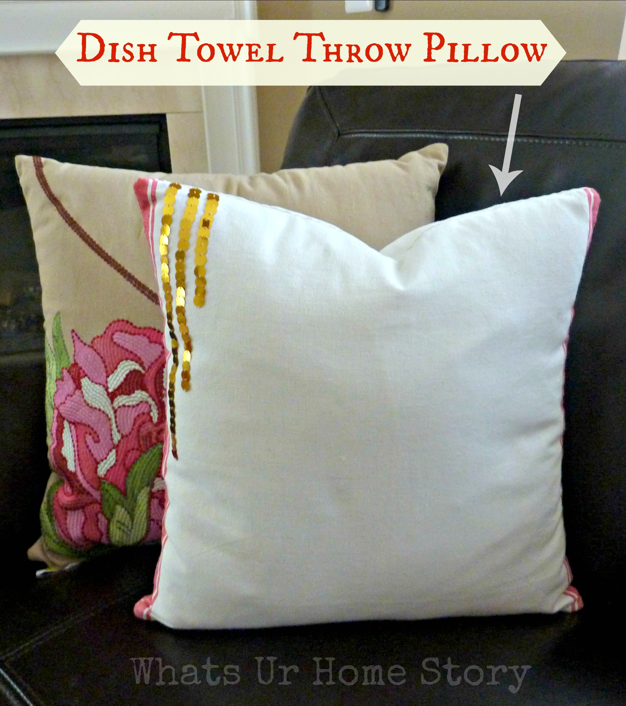 Dish-Towel-Throw-Pillow, Pottery-Barn-knockoff-pillow, DIY-throw-pillow