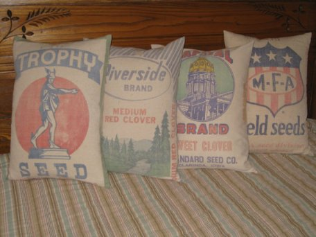 grain sack pillows,  vintage decor