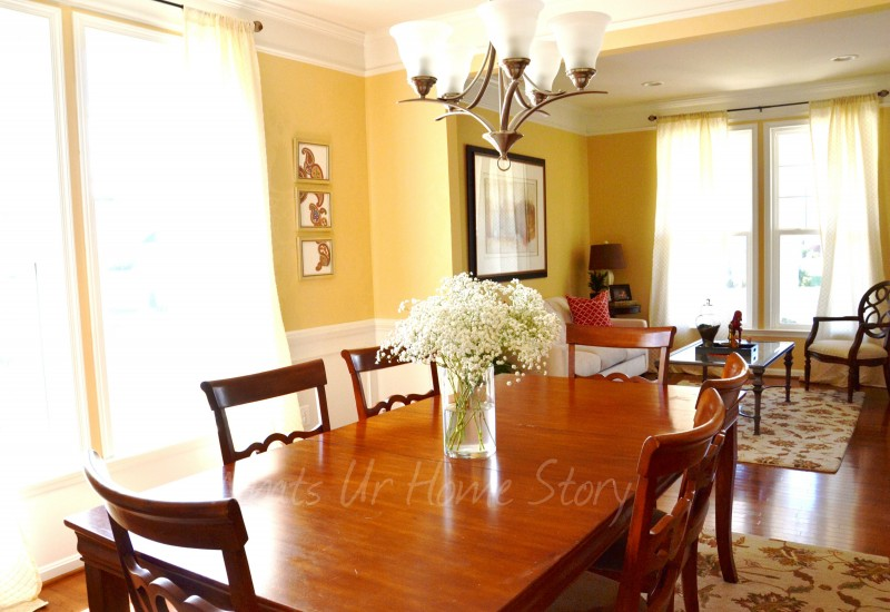 Neutral dining room, yellow dining room, SW August Moon, Whats Ur Home Story