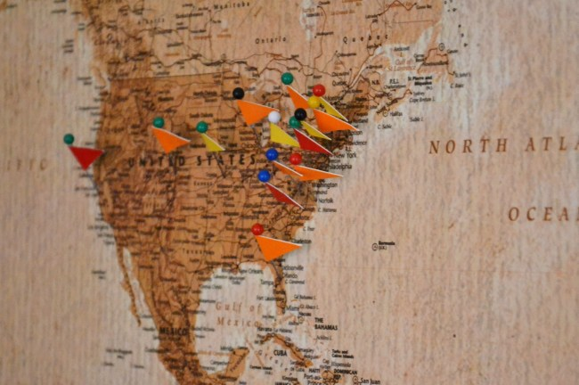 cork board map, diy cork board map tutorial