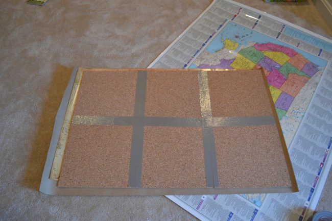 how to make a map cork board