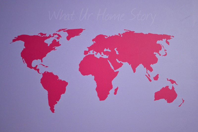 Whats Ur Home Story: world map decal, wall decal
