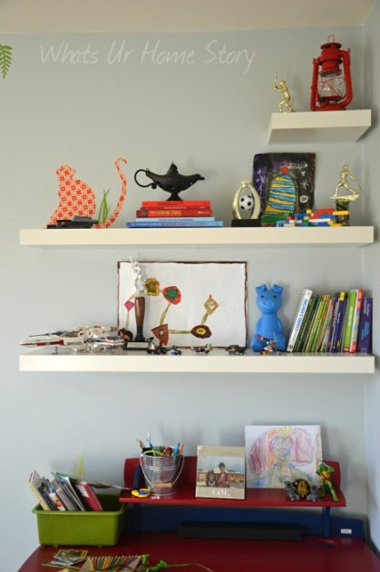 Whats Ur Home Story: Decorating with floating shelves, kids room storage, explorer themed boys room,Benjamin Moore Gray Cashmere