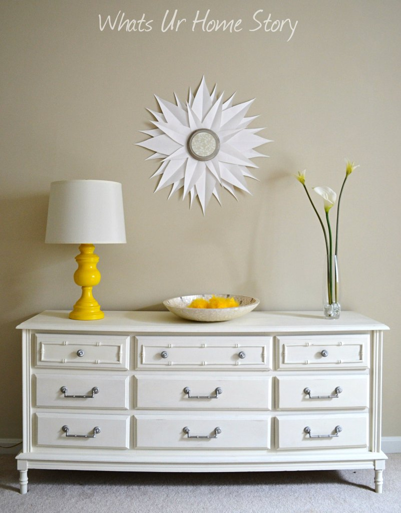 Whats Ur Home Story: Chalk paint dresser, lamp make over, diy sunburst mirror, yellow accents, Sherwin Williams Softer Tan