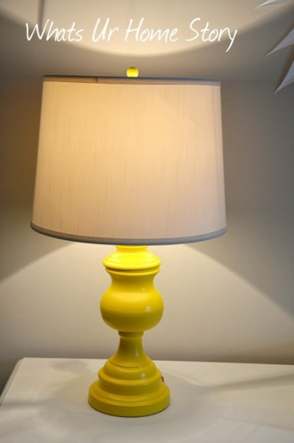 Take a brass thrift store lamp base, spray paint it a fun color, add a shade and voila you have a new  lamp!