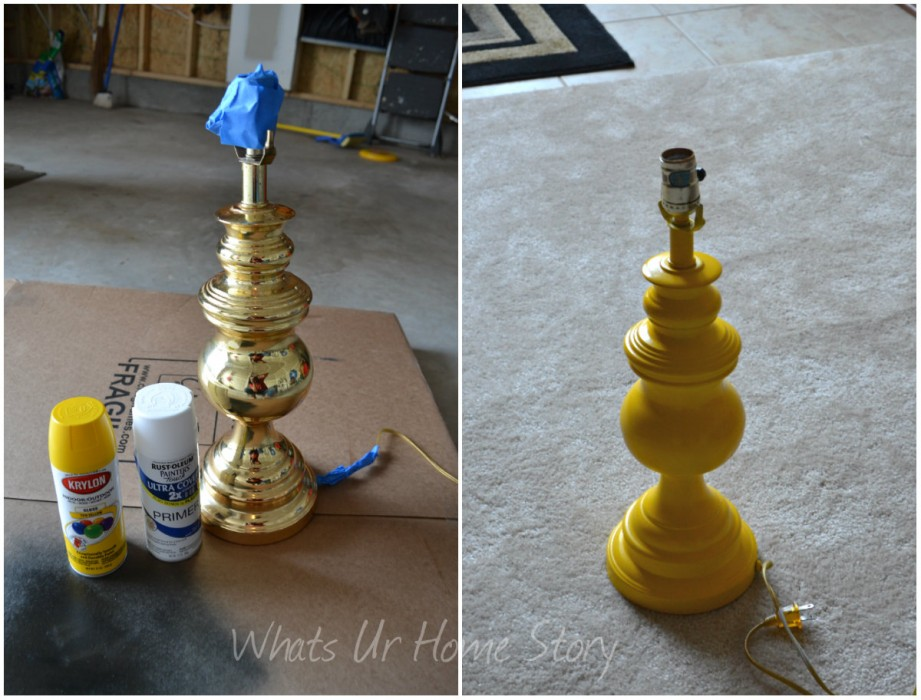 Whats Ur Home Story: Lamp Makeover, spray paint a lamp, yellow lamp
