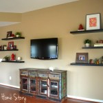 how to convert a buffet into a TV console, floating shelf