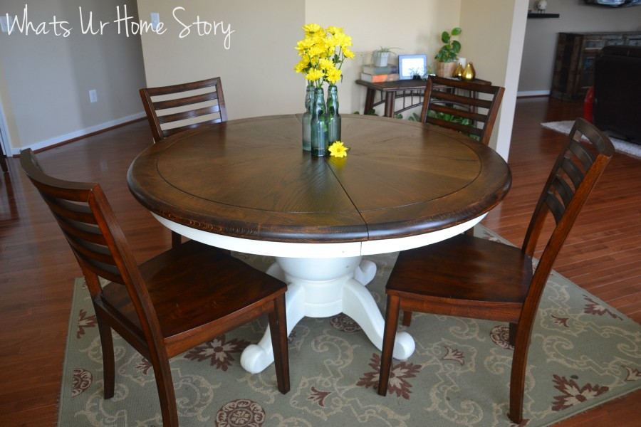 Chalk paint table makeover, Refinished  walnut breakfast table, how to stain a wood table top