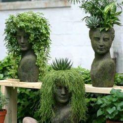 bust planters, unusal planters