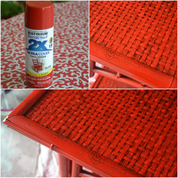 painting bamboo furniture, red painted furniture, spray painting furniture