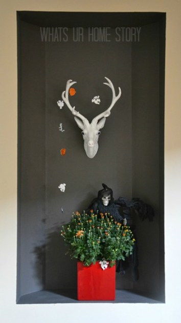 Whats Ur Home Story :Deer Head, Faux Taxidermy, White Faux Taxidermy, simple halloween decor, faux deer head mounts