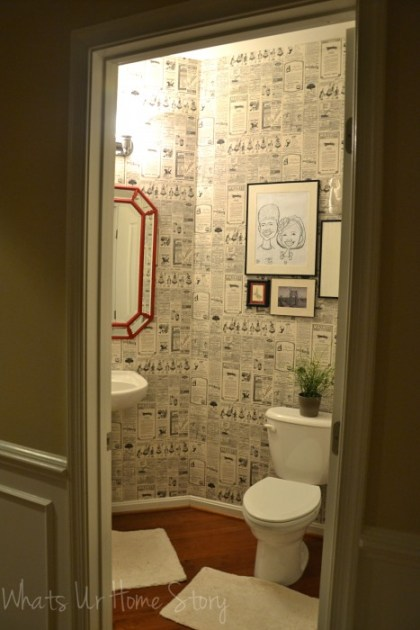 Whats Ur Home Story: Wall paper powder room, newspaper wall paper, wall paper direct , diy powder room makeover