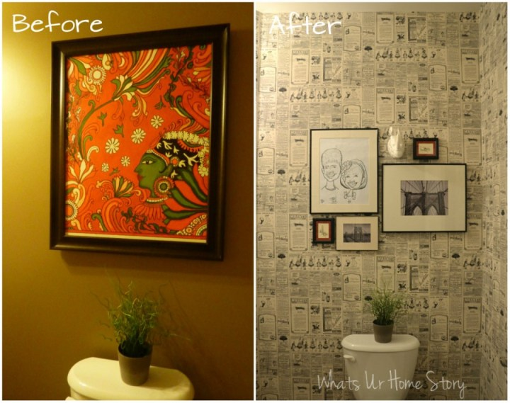 Whats Ur Home Story: Wall paper powder room, newspaper wall paper, wall paper direct , bamboo octagon mirror